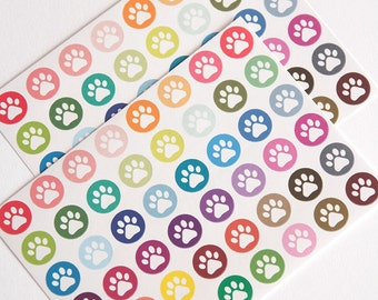 48 paw print stickers, vet stickers, pet stickers, dog stickers, cat stickers, planner stickers, animal eclp filofax happy planner kikkik
