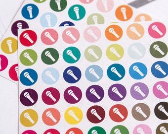 48 microphone sticker, music karaoke stickers, planner stickers, scrapbook reminder, calendar stickers, singing blog sticker