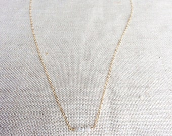 Raw Diamond Necklace - Rough Diamond Necklace - Tiny Diamond Necklace - Diamond Necklace - Tiny Gold Necklace -  Raw Diamond Gold Necklace