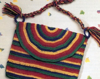 Pattern Only: Vintage Striped Shoulder Bag - Easy Crochet Pattern - 1988 - PDF Download