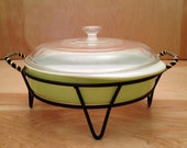 Vintage Mid Century 1950's Lime Pyrex Cake Pan With Glass Cover and Black Wire Stand