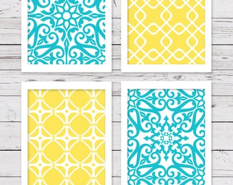 Popular items for bathroom art wall on etsy - Yellow and turquoise bathroom ...