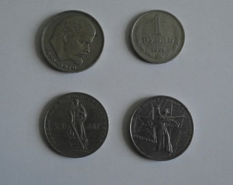 Russian rouble Set of 4 Vintage USSR Soviet 1 rouble coins, russian money