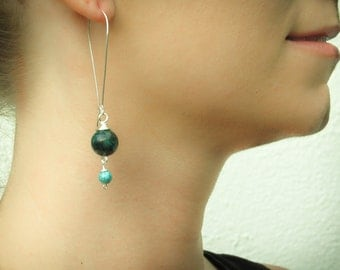 Chrysocolla, turquoise and sterling silver dangle earrings