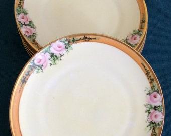 Vintage 1950's Heinrich Bavaria China Set of 5 Plates/ Bavaria China/ Heinrich China/Porcelain
