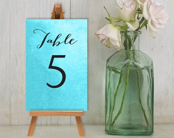 Wedding Reception Table Number DIY // Calligraphy on Blue Watercolor Guest Seating Sign Printable PDF // Numbers 1 to 20 ▷ Custom Printable