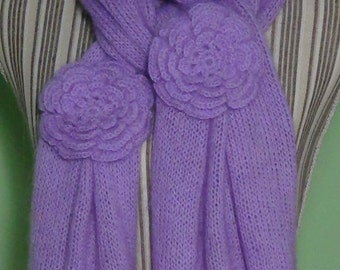 stockinette scarf with crochet Ireland rose
