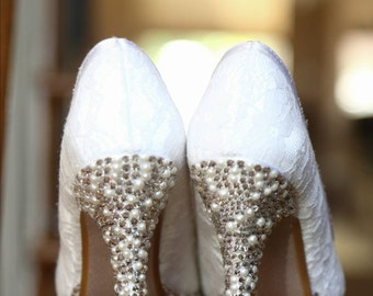 """Swarovski and Pearl Embelished Lace Shoes With Matching """"I DO"""" Embellishment on the bottom"""