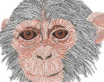 Monkey // wallart // old and wise // prints available - Animal Portrait