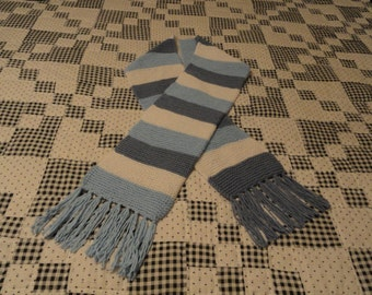 Handmade Pale Blue, Denim Blue and White scarf
