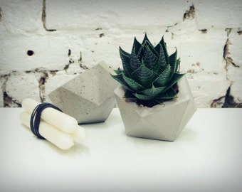 Concrete Planter - Geometric Style, Handmade Cachepot - Large Size