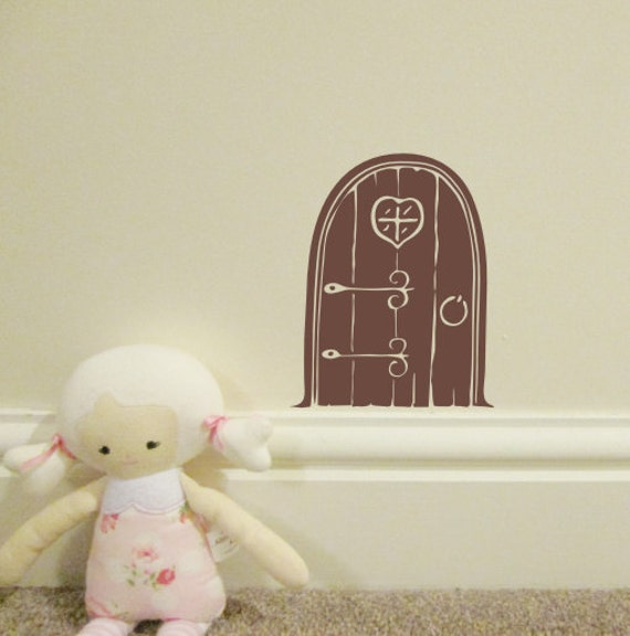 A little mythical fairy door bedroom wall sticker wall decal for Fairy door wall art