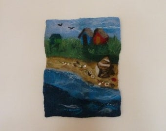 Beach Huts Over The Tideline II - Wet Felted Wall Hanging