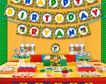 Colorful Building Blocks Birthday Party Printable Party Decorations Supplies - Mini Set Party Kit PK-30