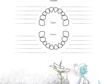 Lost Tooth Chart to Record Lost Baby Teeth with Tooth Fairy Illustration
