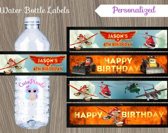 Planes Water Bottle Labels, Planes Bottle Labels, Planes Birthday, Fire and rescue, Disney Planes, Planes party