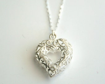 Heart, silver, filigree, necklace - VALENTINE