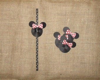 Minnie Mouse Straw Toppers Red- (TOPPER ONLY)