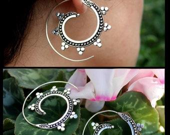 Tribal Earrings german silver and brass