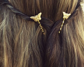 Butterfly Hair Pin Gold Butterfly Butterfly Bobby Pins Brass Hair Pins Butterfly Hair Clips