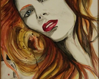 "Celebrity Actress Amy Adams warm color realism Watercolor Portrait Original Painting on a paper , size 12""*18"""