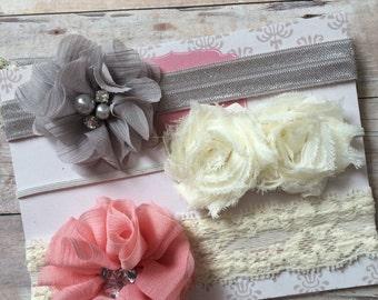 Baby Girl Headband Set, Shabby Chic Headbands, Vintage Inspired, Newborn Headband, Pink Cream and Gray Headbands, Gift Set, Baby Shower Gift