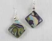 Coastal blues, sparkly greens, purple, lavender and pearl square pendants of polymerclay in mokume gane technique on sterling silver earring