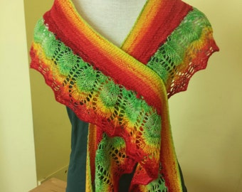OOAK Hand knitted lace crescent shawl