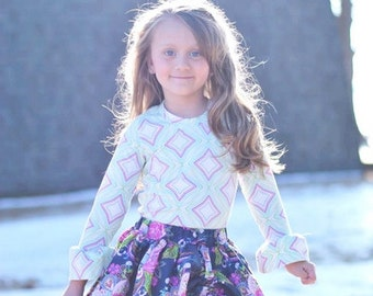 Pepper's Peekaboo Ruffle Skirt. PDF sewing pattern for toddler girl sizes 2t - 12.
