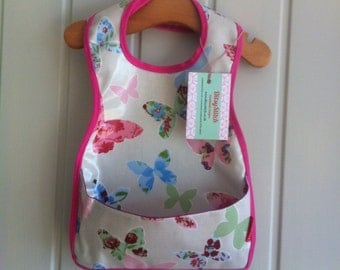 Butterfly baby bib - wipe clean pocket style with velcro fastening.
