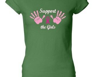Breast Cancer Awareness Ladies Shirt Support the Girls Longer Length Tee T-Shirt GIRLS-8101