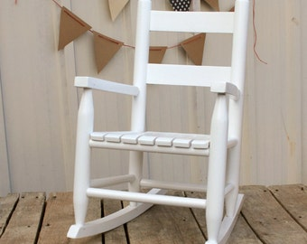 white wooden childs rocking chair kids heirloom rocker - Rocking Chair Cushion Sets