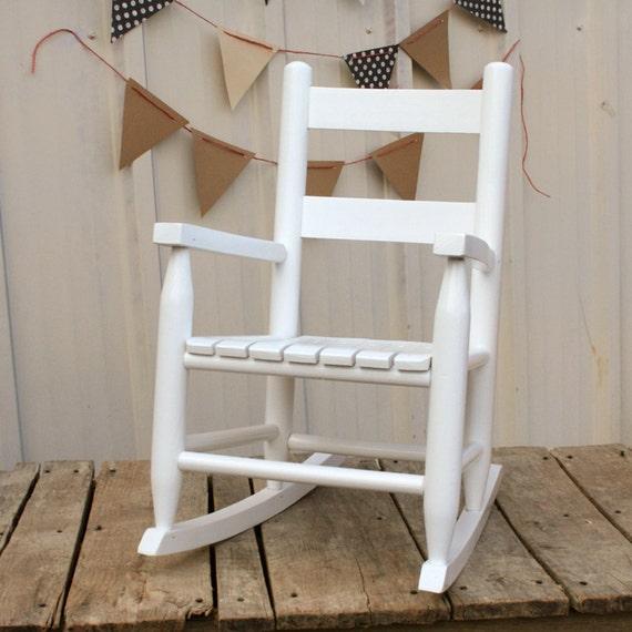 White Wooden Childs Rocking Chair Kids Heirloom Rocker