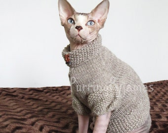 Cat clothes - warm cat sweater, knitted cat sweater, handmade cat clothes, sphynx sweater, clothes for sphynx