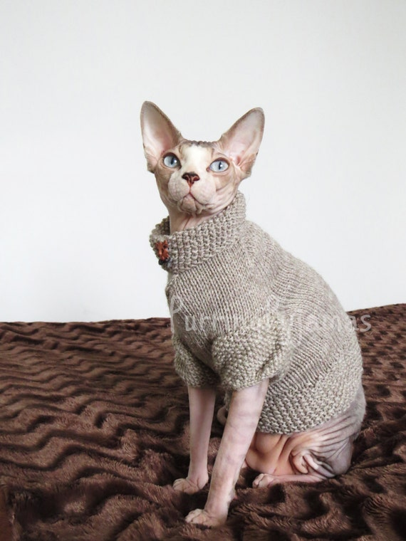 Cat clothes warm cat sweater knitted cat by purringpyjamas - Knitted cat sweater pattern ...