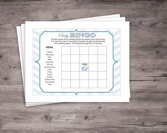 Blue Elephant Baby Bingo Card- Instant Download