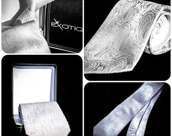 White Paisley Italian Microfiber Tie in Faux Leather Box
