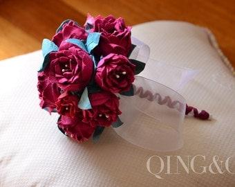Handmade, Wedding Bouquet, Wedding Flowers, Paper Flowers, Rich Crimson
