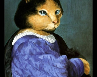 Cat Art Prit, Titian Spoof by Susan Herbert 1994, Original Book Plate Print, Professionally Matted 8 x 10, Ready To Frame