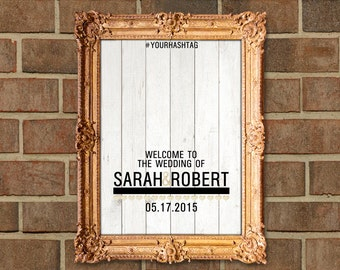 Modern Hearts Gold Glitter Wood Customized Wedding Welcome Sign
