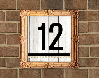 Modern Hearts Gold Glitter Wood Wedding Table Numbers Signs 1-25