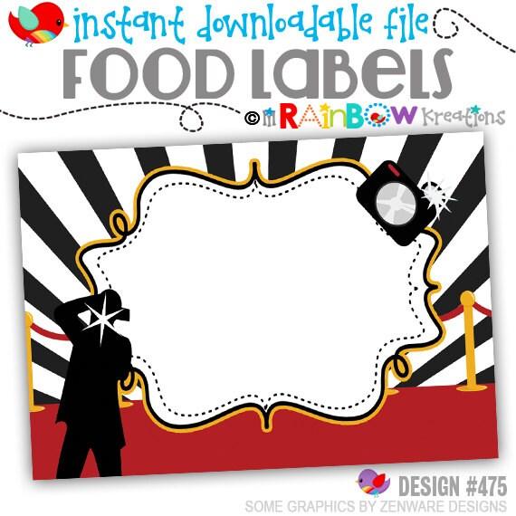 FOODLABL-475: DIY - Hollywood Red Carpet 4 Food Labels - Instant Downloadable File