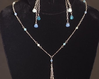 Blue & green candy quartz lariat
