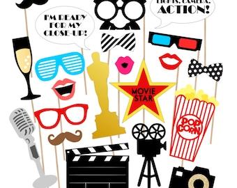 Oscar Awards Party Printable Photo Props - Movie Awards Photo Booth Props - Movie Photobooth Props - Oscars Awards Night