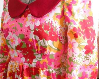 Vintage 1960s crepe, flowered, floor length, longsleeve, dress