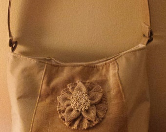 Faux suede and leather purse