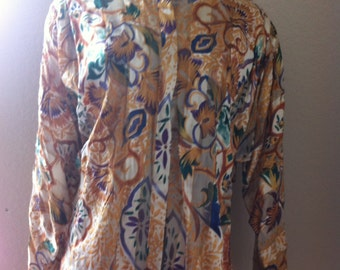 Vintage The Silk Farm sheer multicolored blouse