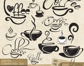 10 Vector 'Coffee' Clip Art - digital vector stamps, clipart for scrapbooking, card making, fabric transfers, tags, labels - CV-001