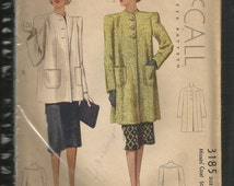 McCalls Spring Jacket Coat Vintage UNcut Sewing Pattern McCall 3185 Box Coat 1940s Yoke Effect Shoulders bust 32