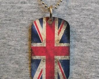 Metal Dog Tag Necklace BRITISH FLAG Union Jack United Kingdom UK royal country pendant charm 2-sided